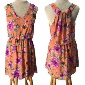 French Grey Floral Mini Dress Peach Purple